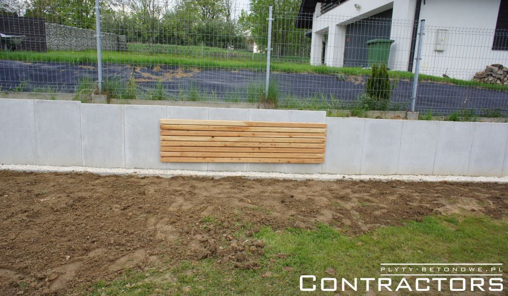 Concrete panels in garden